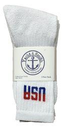 48 Units of Yacht & Smith Men's Usa White Crew Socks Size 10-13 - Mens Crew Socks