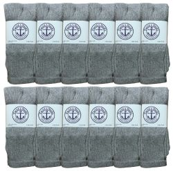 60 Units of Yacht & Smith Women's Cotton Tube Socks, Referee Style, Size 9-15 Solid Gray 28Inch - Womens Crew Sock