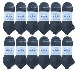 60 Units of Yacht & Smith Mens 97% Cotton Low Cut No Show Loafer Socks Size 10-13 Solid Gray - Mens Ankle Sock