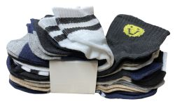 180 Units of Yacht & Smith Assorted Pack Of Boys Low Cut Printed Ankle Socks Bulk Buy - Boys Ankle Sock