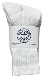 36 Units of Yacht & Smith Kids Cotton Terry Cushioned Crew Socks White Size 6-8 Bulk Pack - Boys Crew Sock