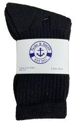 60 Units of Yacht & Smith Kids Cotton Terry Cushioned Crew Socks Black Size 6-8 Bulk Pack - Boys Crew Sock