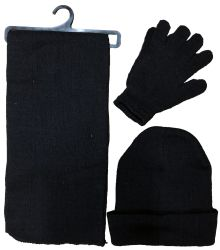72 Units of Yacht & Smith Pre Assembled Unisex 3 Piece Winter Care Sets,  Hat Gloves Scarf Set Solid Black - Winter Sets Scarves , Hats & Gloves