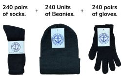 720 Units of Winter Bundle Care Kit, For Men Includes Tube Socks Beanie And Glove - Winter Care Sets