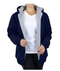12 Units of Women's Loose Fit Oversize Full Zip Sherpa Lined Hoodie Fleece - Navy Size Large - Womens Sweaters & Cardigan