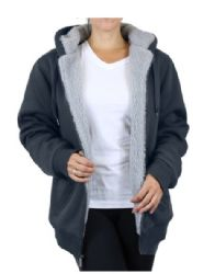 12 Units of Women's Loose Fit Oversize Full Zip Sherpa Lined Hoodie Fleece - Charcoal Size X Large - Womens Sweaters & Cardigan