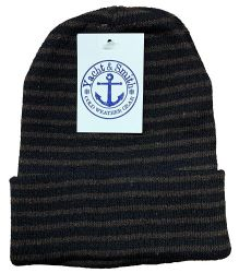 12 Units of YACHT & SMITH 12 Pack Winter Beanie Hats, Thermal Stretch Unisex Cuffed Plain Skull Knit Hat Cap (Stripes) - Winter Beanie Hats