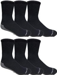 6 Units of Yacht & Smith Mens Loose Fit Gripper Bottom Diabetic NoN-Skid Slipper Black Socks, Grippy Hospital Sock, Size 10-13 - Men's Diabetic Socks