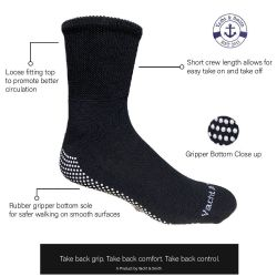 36 Units of Yacht & Smith Mens Multi Purpose Diabetic Black Rubber Silicone Gripper Bottom Slipper Sock Size 10-13 - Mens Crew Socks