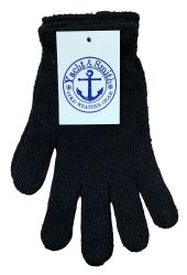 96 Units of Yacht & Smith Mens Warm Winter Hats And Glove Set Solid Black 96 Pieces - Winter Sets Scarves , Hats & Gloves