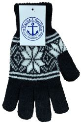 240 Units of Yacht & Smith Snowflake Print Mens Winter Gloves With Stretch Cuff 240 Pairs - Knitted Stretch Gloves