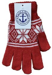 240 Units of Yacht & Smith Snowflake Print Womens Winter Gloves With Stretch Cuff 240 Pairs Bulk Buy - Bulk Gloves for Homeless and Charity