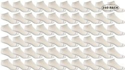 240 Units of Yacht & Smith Mens Comfortable Lightweight Breathable No Show Sports Ankle Socks, Solid White Bulk Buy - Men's Socks for Homeless and Charity