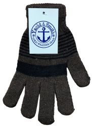 240 Units of Yacht & Smith Unisex Winter Gloves, Magic Stretch Gloves In Assorted Stripe Colors 240 Pairs - Knitted Stretch Gloves