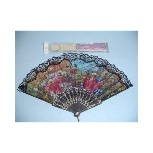100 Units of Folding Fan with Lace - Home Decor