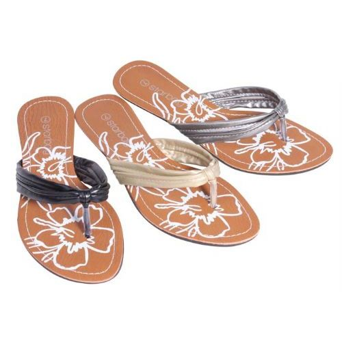 36 Units of Womans Flip Flop Flower Print