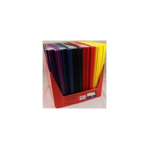 "100 Units of Premium Two Pocket Folders with 3 Fasteners - Coated High Gloss assorted colors - 8.5"" x 11"""
