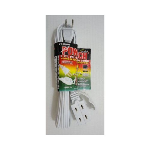 100 Units of  9' White Extension Cord - ADAPTRS/COUPLERS/JACKS/OUTLETS