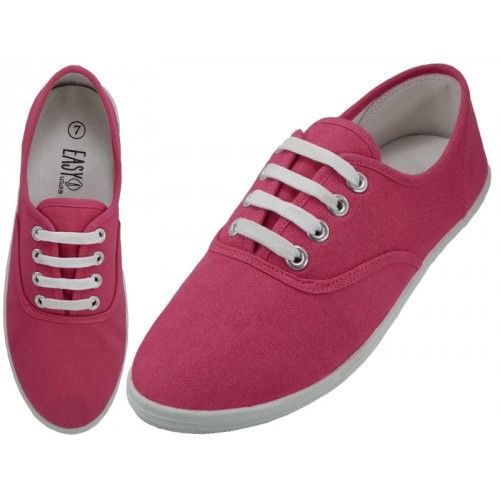 24 Units of Ladies Canvas Shoes Fuchsia