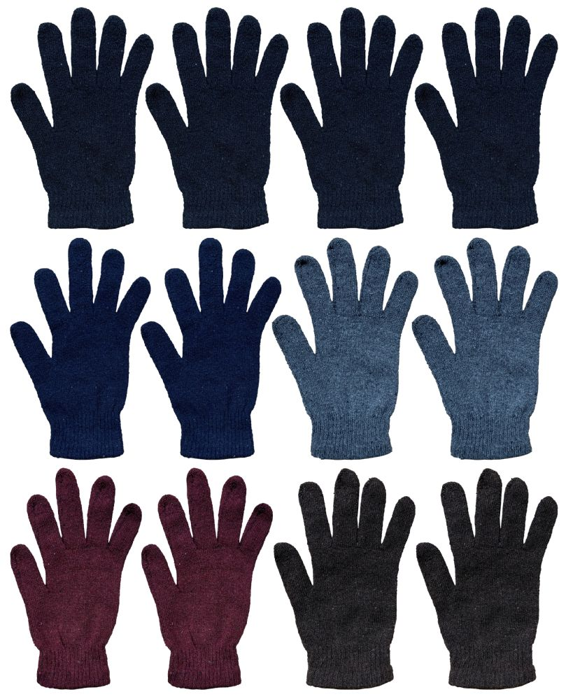 60 Units of Unisex Magic Gloves 1 Size Fits All Assorted Colors - Magic Acrylic Gloves