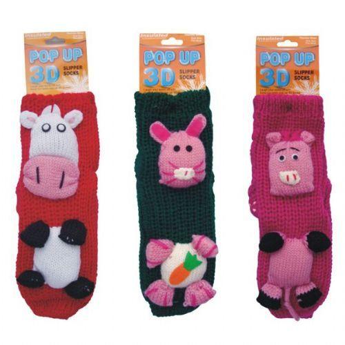 24 Units of Winter Knit Socks 3D Animals - Womens Fuzzy Socks