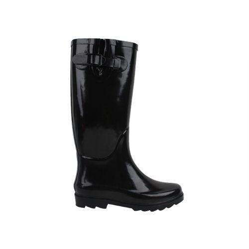 12 Units of Ladies Solid Color Black Rain Boot