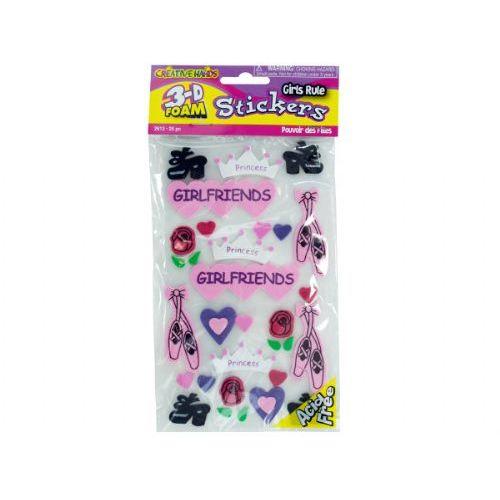 54 Units of 3d foam stickers girls rule
