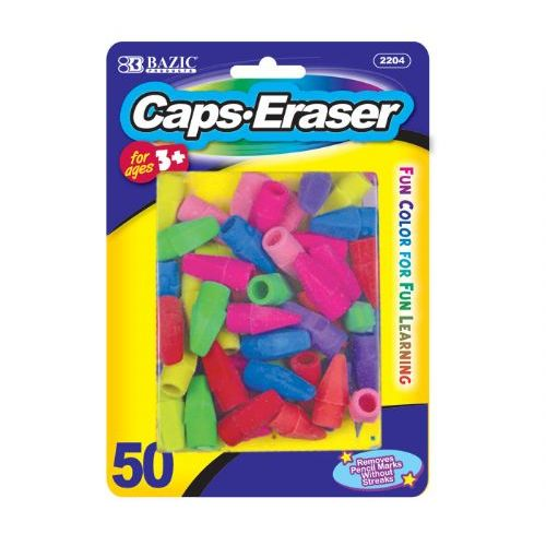 24 Units of BAZIC Neon Eraser Top (50/Pack) - ERASERS