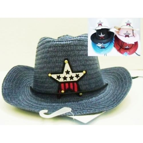 5d3a0beb83726 72 Units of Kids Cowboy Straw Hats Assorted Star Design - Cowboy   Boonie  Hat - at - alltimetrading.com