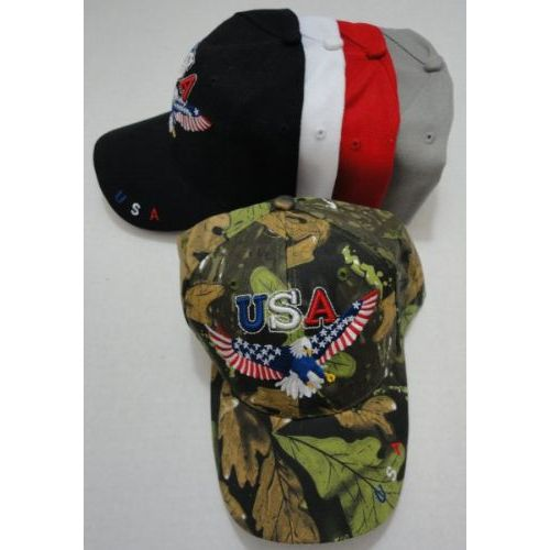 24 Units of USA Eagle Hat with Flag Wings - Hunting Caps - at -  alltimetrading.com 2287a81e85c8