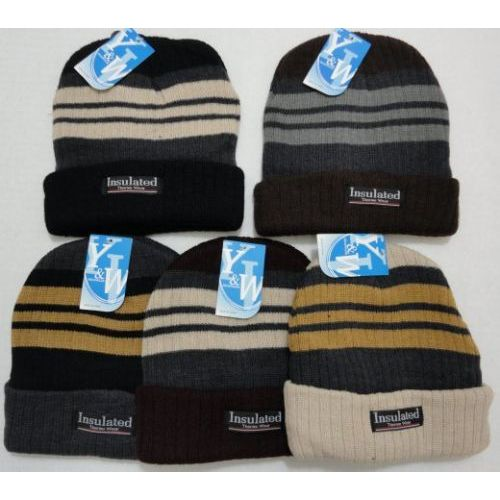48 Units of Heavy Duty Insulated Toboggan with Stripes Winter Hat - Winter  Beanie Hats - at - alltimetrading.com e9a9bd3b443
