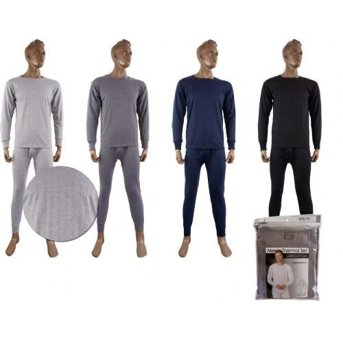 36 Units of Mens Fleece Thermal Set BLACK ONLY - Mens Thermals