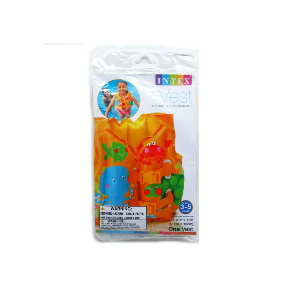 "24 Units of 16""X12"" TROPICAL BUDDIES SWIM VEST IN PEGABLE POLY BAG - SUMMER TOYS"