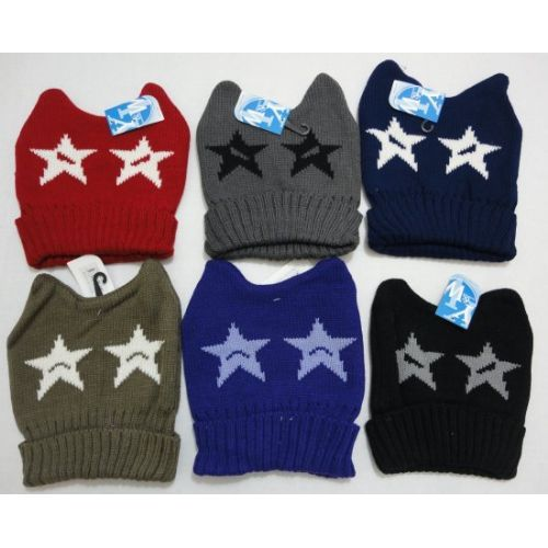 12 Units of Knitted Hat with Horns [Starry Eyes]
