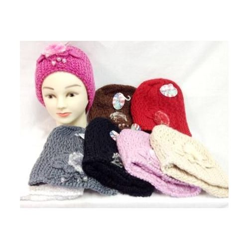 be73a683924 24 Units of Knit Girl Cap Hats with a fur ball and beads - Junior   Kids  Winter Hats - at - alltimetrading.com