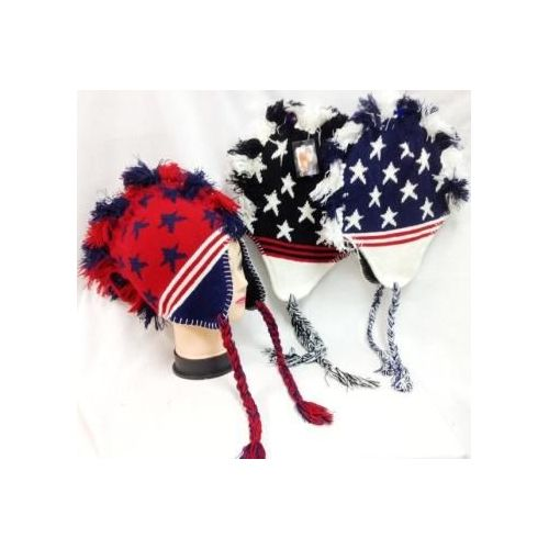 48 Units of American Flag Colored Mohawk Knit Hats with Ear Flaps - Winter  Helmet Hats - at - alltimetrading.com 45128f4f389