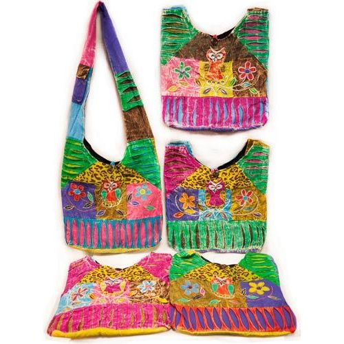 10 Units of Small Nepal Sling Bags Handmade Owl Flower Patch Design