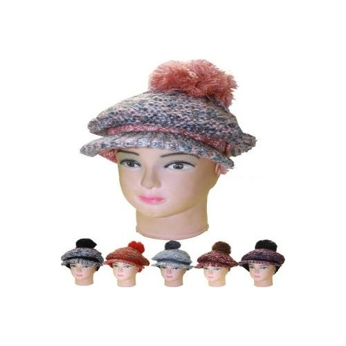 72 units of womens warm winter hat with visor in assorted