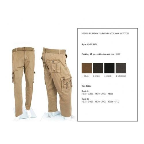 12 Units of Men's Fashion Cargo Pants 100%