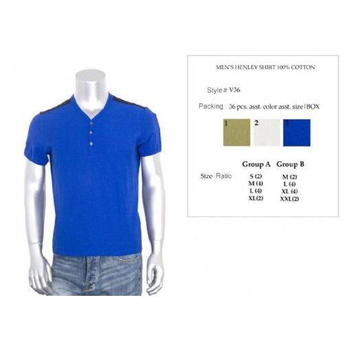36 Units of Mens Henley Shirt 100% Cotton Size Chart A Only - Mens Shirts