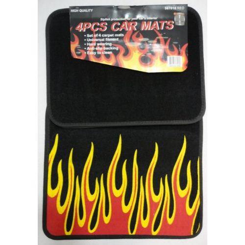 6 Units of 4pc Car Mats-Black with Flames - AUTO SUNSHADES/MATS