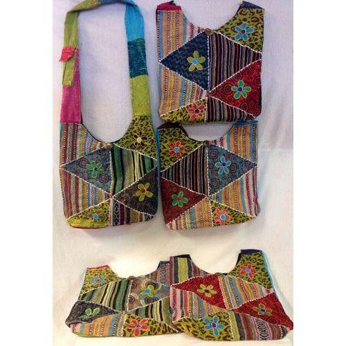 10 Units of Handmade Nepal Hobo Bags Flower Trangular Patch Design