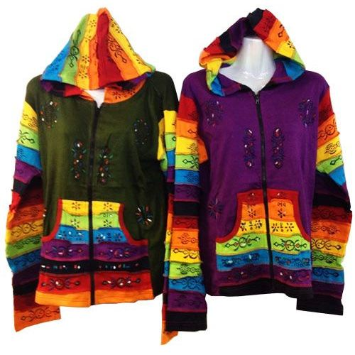 10 Units of Patchwork Cotton Handmade Nepal Jackets with Rainbow