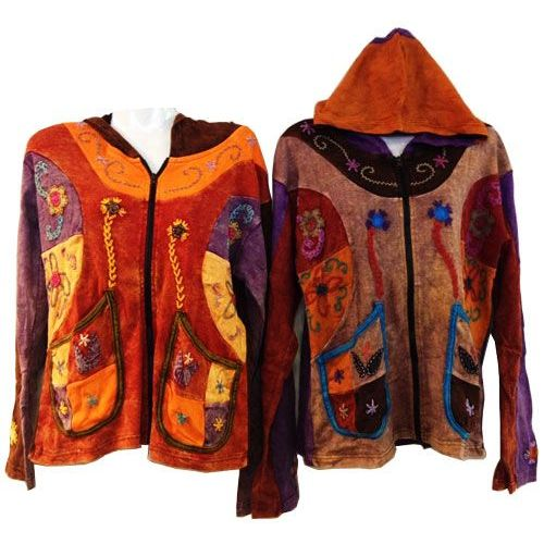 10 Units of Patchwork Cotton Handmade Nepal Jackets with Butterfly