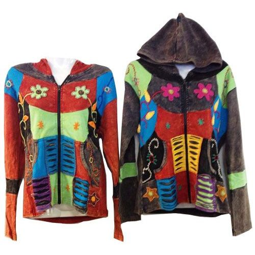 10 Units of Nepal Handmade Cotton Jackets with Hood Flower Design