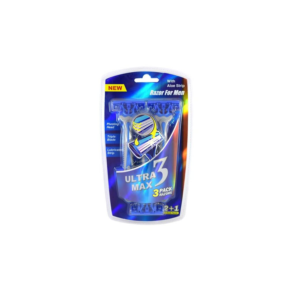 24 Units of Ultra Max Razor 3 Pack Blue MEN