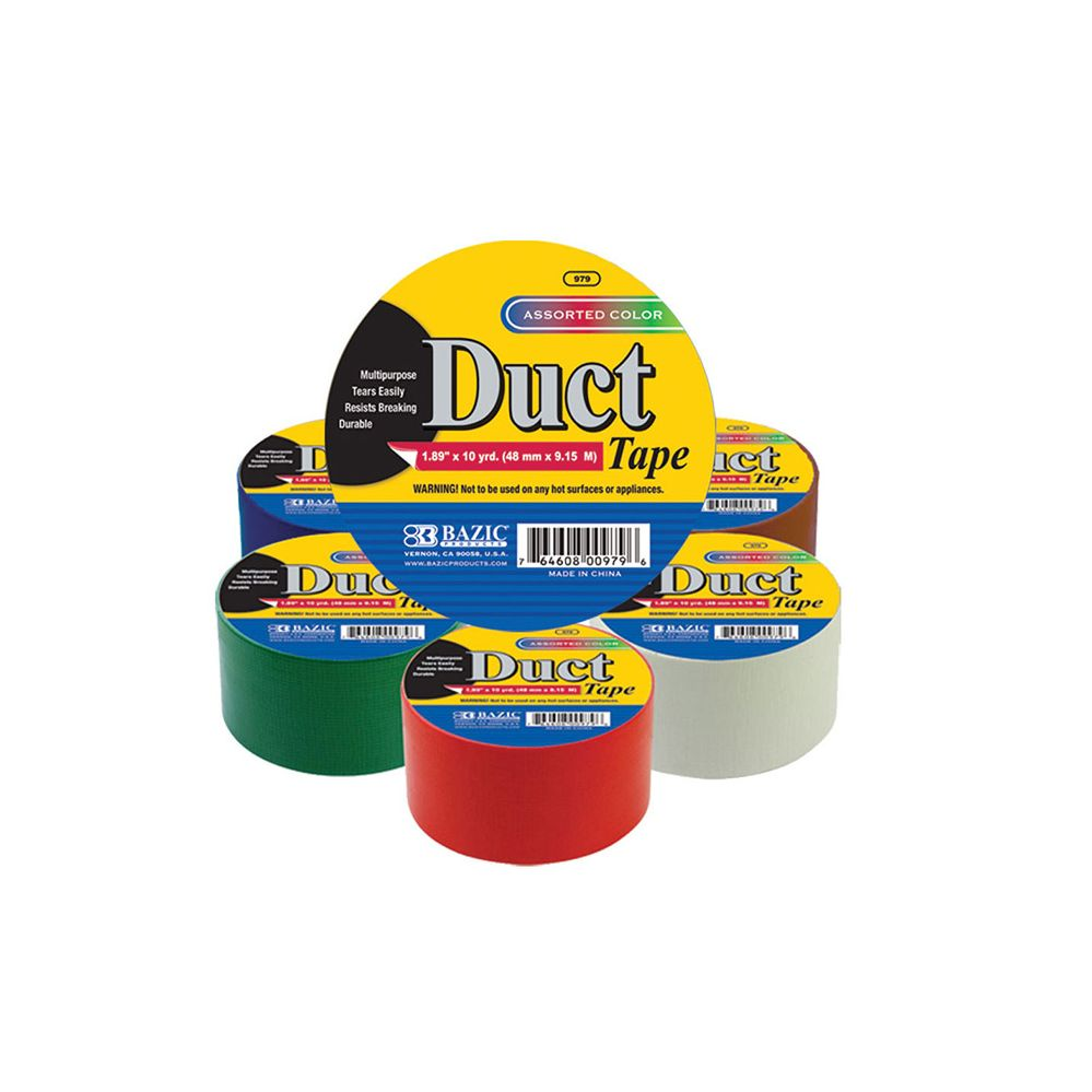 """108 Units of BAZIC 1.88"""" X 10 Yard Assorted Colored Duct Tape - TAPE"""