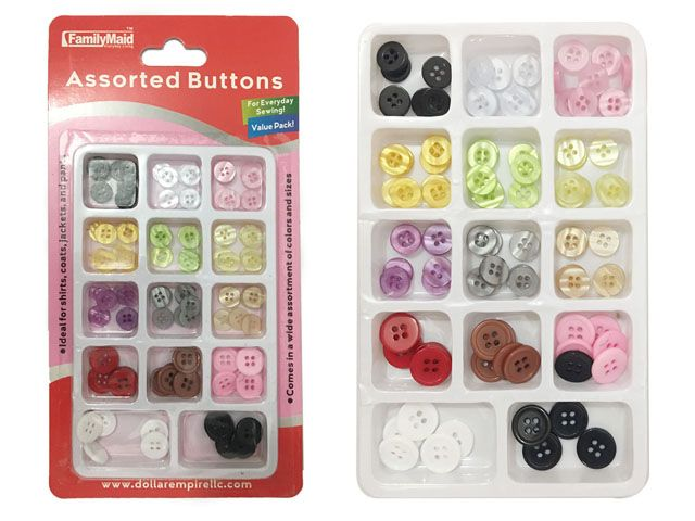 144 Units of BUTTON SET W/DISPLAY BOX - SEWING BUTTONS