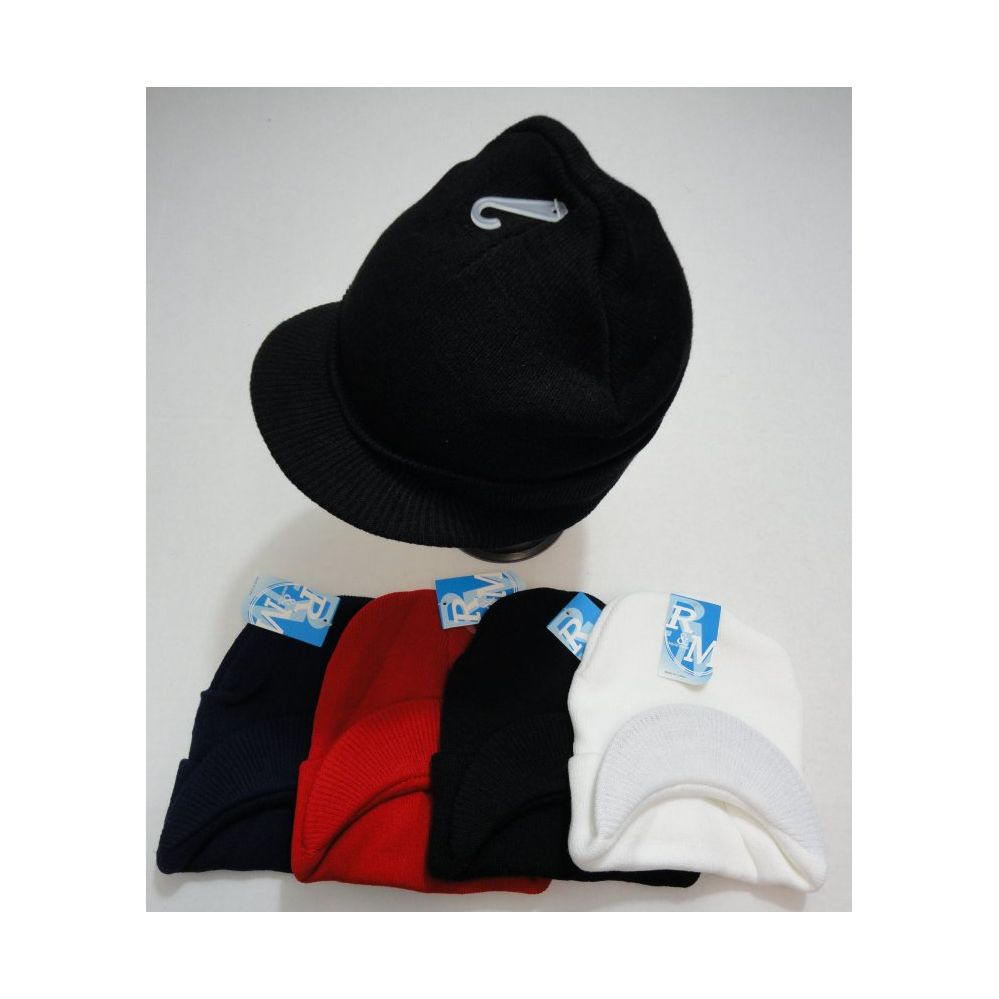 12 Units of Toboggan Hat with Hard Bill-Solid Colors