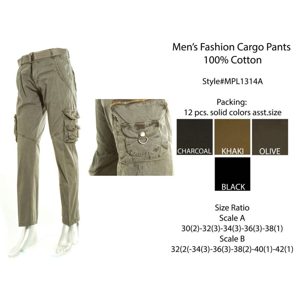 12 Units of Mens Fashion Cargo Pants 100 % Cotton